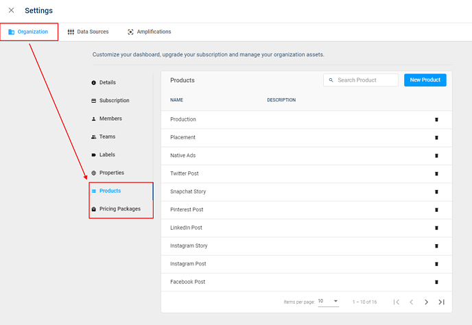 Property, Product & Pricing Packages moved to Settings
